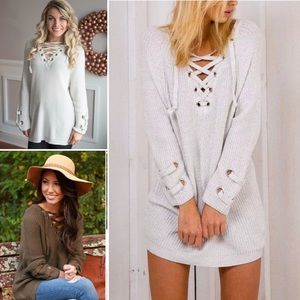#1 TRENDY LUXE Lace Up Chunky Knit Sweater Tunic
