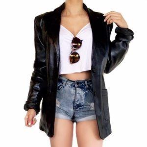 Vintage Jackets & Blazers - Vintage black leather jacket