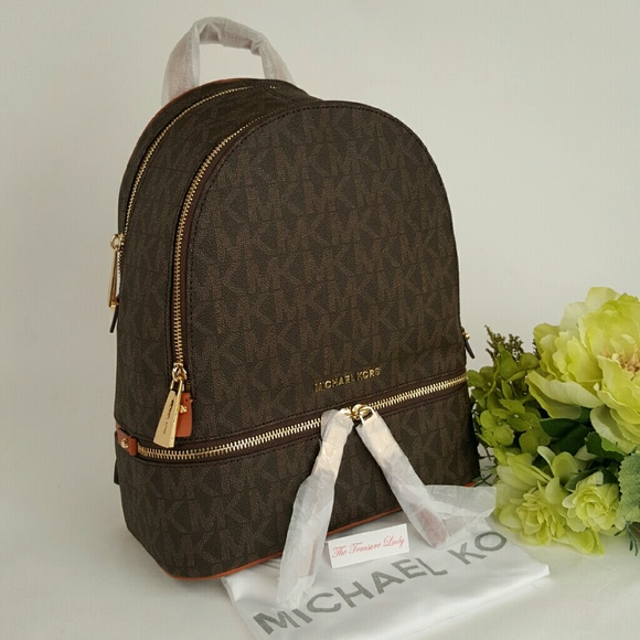 7f47d81b6ab211 Michael Kors Bags | Rhea Zip Signature Backpack Brown Mk | Poshmark