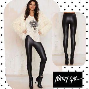 Nasty Gal Rox Coated Jersey Leggings