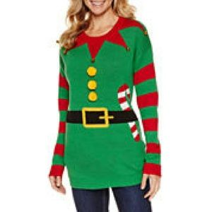 Tiara Sweaters - Elf Christmas Sweater with matching hat-Worn once!