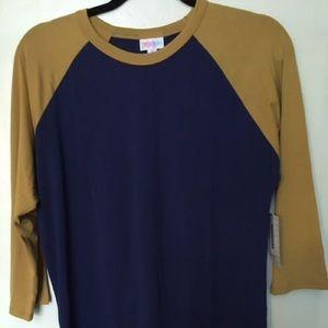 Lularoe Randy tee shirt - blue with gold - medium