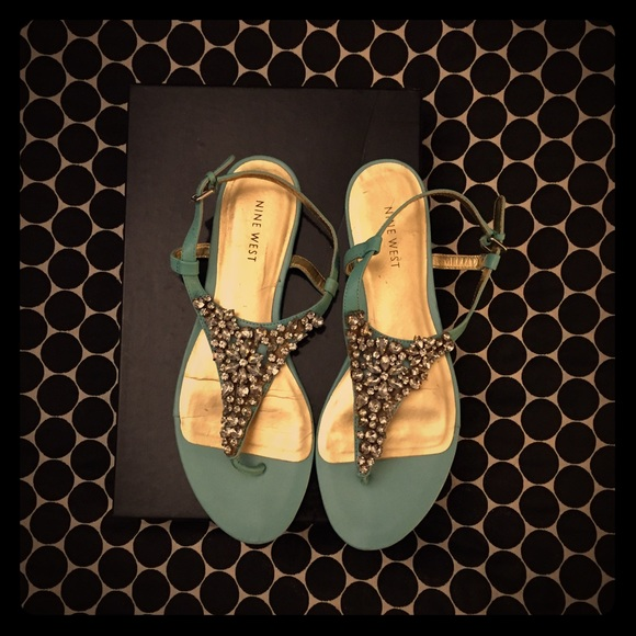 ce2f1384e56a2 Nine West Jeweled Sandals in Tiffany Blue Gold 9. M 5854aeb14e8d17668600ec7b