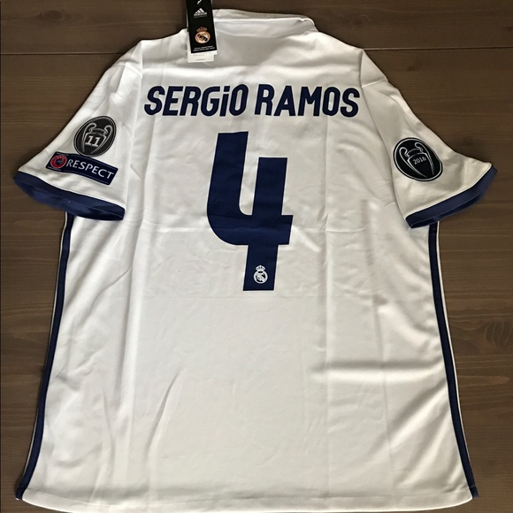 low priced bd696 27ad6 Real Madrid white Sergio Ramos #4 adidas soccer NWT