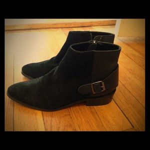 Mango black suede leather ankle boots size 6