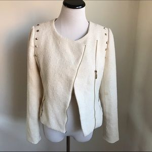 💖 Cream Blazer with Gold Studs Fully Lined