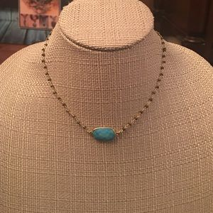 Turquoise Pendant on Pyrite Chain