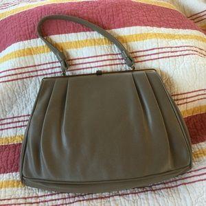 Vintage Handbags - Vintage 50s Taupe Vinyl Shoulder Bag
