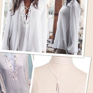styleaway Tops - 2in1 Lace up loose fitting top, lace also choker