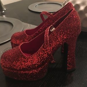 Size 8 Red Glitter Mary Janes