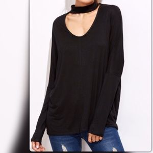 Tops - Cutout Drop Shoulder Choker T-shirt