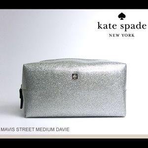 kate spade Handbags - Kate spade medium Davie Silver Sparkle Makeup Bag
