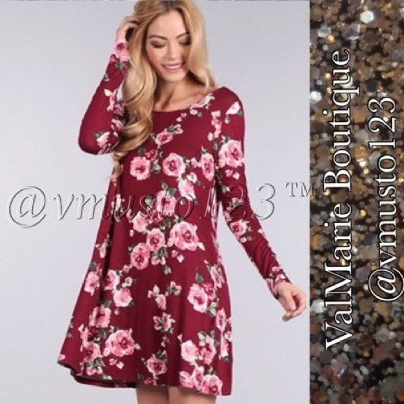 ValMarie Boutique Dresses - ❤️SALE‼️BURGUNDY FLORAL SWING DRESS