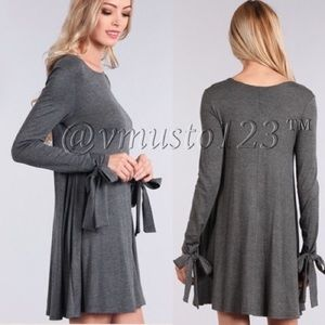 PREMIUM BOW TIE LONG SLEEVES SWING DRESS
