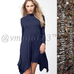 PREMIUM MOCK NECK ASYMMETRICAL SWING DRESS