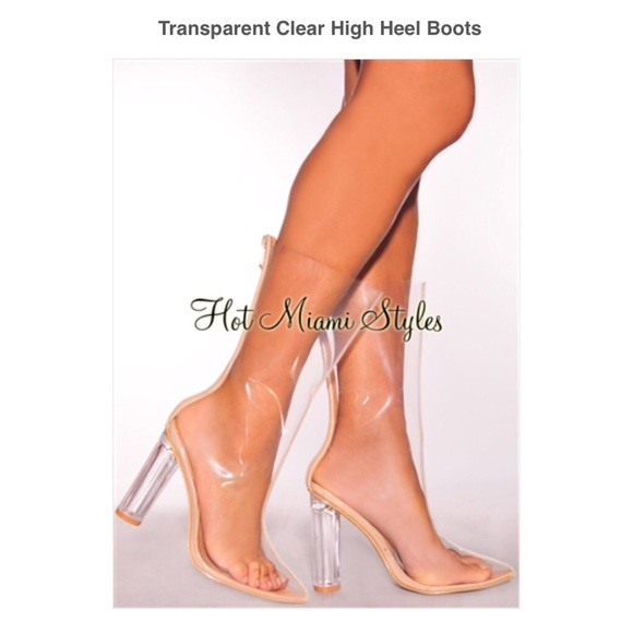 Boutique Transparent Heel Clear High Boots OiukPZTwX