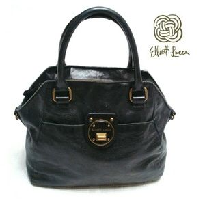 Elliott Lucca Handbags - ELLIOTT LUCCA SOFT BLACK 100% LEATHER SATCHEL