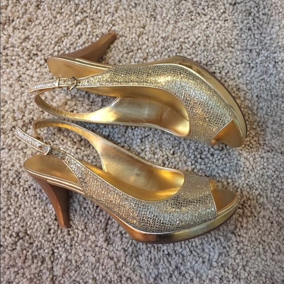 22e01ef327 Nine West gold sparkly sling back peep-toe heels. M_5855426d713fded3db00183d