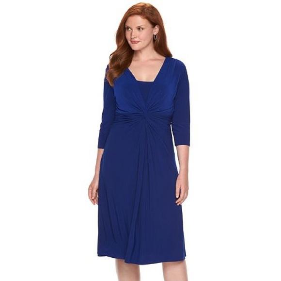 Chaps Dresses Solid Knotfront Empire Dress Plus Size Poshmark