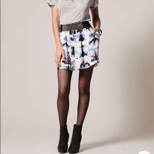 Charlotte Ronson Dresses & Skirts - Silk stud bead embroidered watercolor print skirt