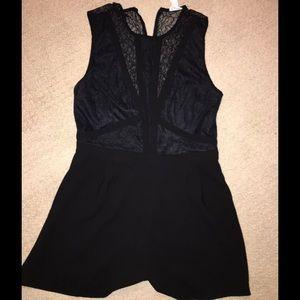 Pants - Cute romper shorts, black lace