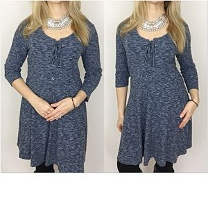 Dresses & Skirts - So Adorable & Trendy Lace Up Marled Tunic Dress M