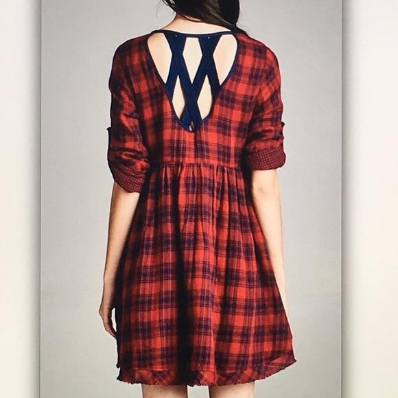 Dresses & Skirts - 🐞Red/blue🐞plaid pocket cage back dress