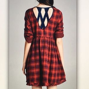 Dresses - 🐞Red/blue🐞plaid pocket cage back dress