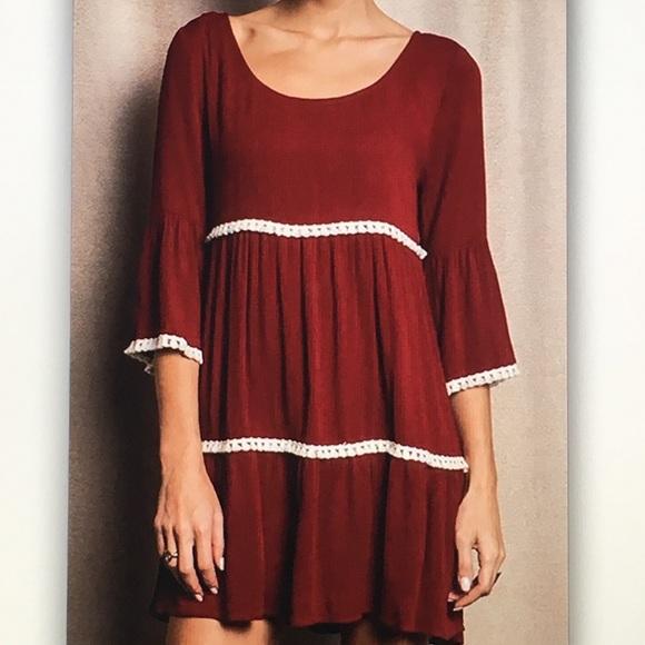 Umgee Dresses & Skirts - 🍷Red wine🍷3/4 bell sleeve dress