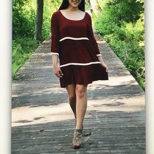 Umgee Dresses - 🍷Red wine🍷3/4 bell sleeve dress