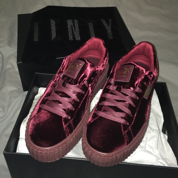 separation shoes b20e7 5b57e Velvet burgundy Fenty x PUMA creepers NWT