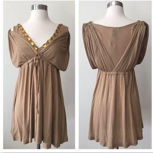 NWT BCBG Max Azria gold gem open shoulder dress