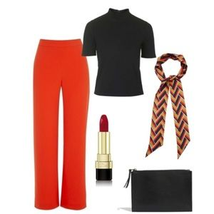 Topshop Wide Leg Red Palazo Pants