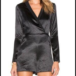 BCBGeneration Pants - BCBG $138* SEXY Black Satin V Neck Tuxedo Romper