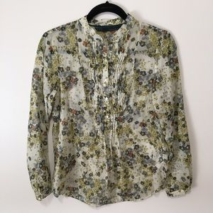 Zara Tops - Zara Blue Floral Print Long Sleeve Top