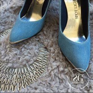 Spotlight Shoes - SALE❤️Denim and Silver Heels