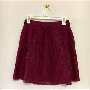 J.Crew Dark Scarlet Lace Skirt