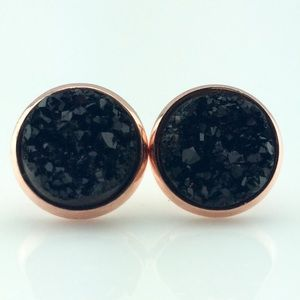 thejeweladdict Jewelry - 3 for 15🎀chunky black faux druzy rose gold studs