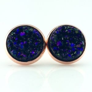 thejeweladdict Jewelry - 3 for 15🎀blackberry faux druzy rose gold studs
