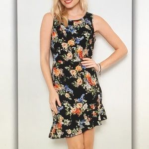 💐Black floral💐sleeveless flair dress