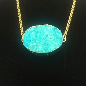 Natural Blue Oval Druzy Necklace