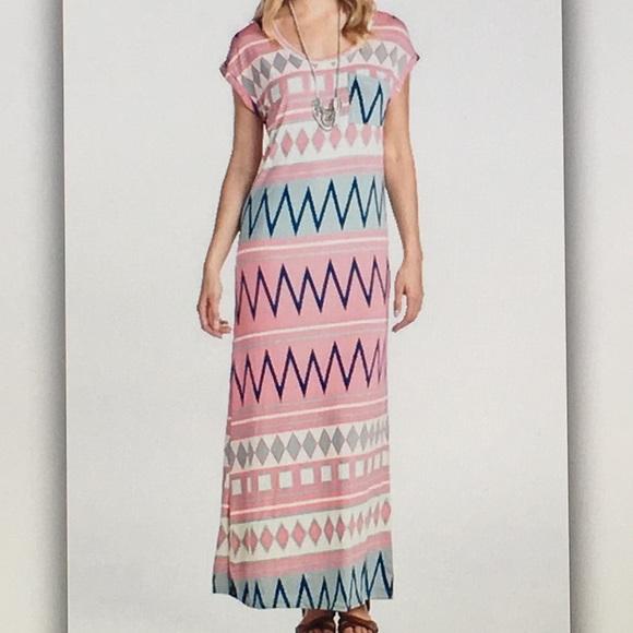 Dresses & Skirts - 👛Pink Aztec👛stretchy maxi dress