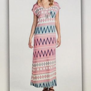 Dresses & Skirts - 👛Pink Aztec👛stretchy maxi dress