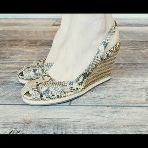 Jil Sander Shoes - Jil Sander snakeskin wedge espadrilles