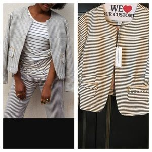 Katherine Barclay Jackets & Blazers - Katherine Barclays striped blazer jacket w pockets