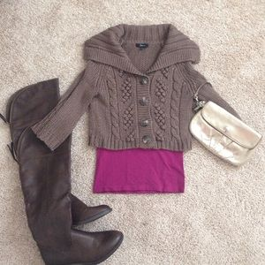 Express Cropped Button Down Brown Sweater