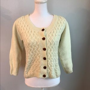 Sweaters - White Knit Sweater with Elbow Patches
