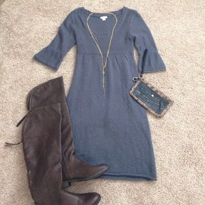 Bluish-Gray Sweater Dress with 3/4 Bell Sleeves