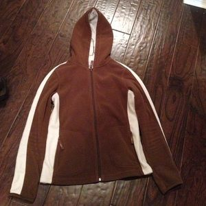 Brown and white fleece hoodie