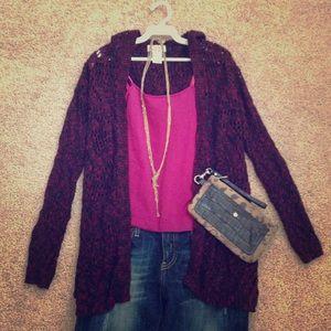 🎉 HOST PICK Long Sleeve Hooded Red/Black Cardigan